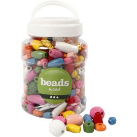113102 Träpärlor i Mixade Färger till Smyckestillverkning 5-28 mm, 400 ml, 175 g