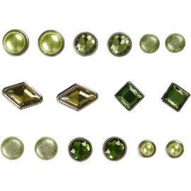 113112 Vivi Gade Design Dekorationsnitar Brads med Facettyta 8 Mix, 8-18 mm, Grön 16 st1