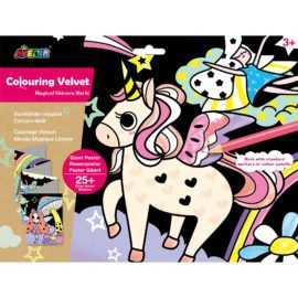 113121-2 AVENIR Färgläggningsaffisch Giant Poster Colouring Velvet Magical Unicorn World
