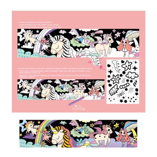 113121-4 AVENIR Färgläggningsaffisch Giant Poster Colouring Velvet Magical Unicorn World