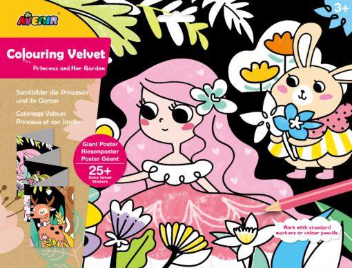 113123 AVENIR Färgläggningsaffisch Giant Poster Colouring Velvet Princess and Her Garden 126x29.5 cm