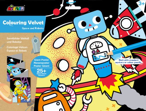 113124-2 AVENIR Färgläggningsaffisch Giant Poster Colouring Velvet Space and Robots 126x29.5 cm