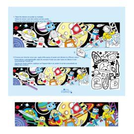 113124-3 AVENIR Färgläggningsaffisch Giant Poster Colouring Velvet Space and Robots 126x29.5 cm