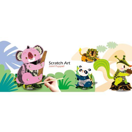 113125-2 AVENIR Skrapmotiv Scratch & Create Art Joint Puppets Forest Animals