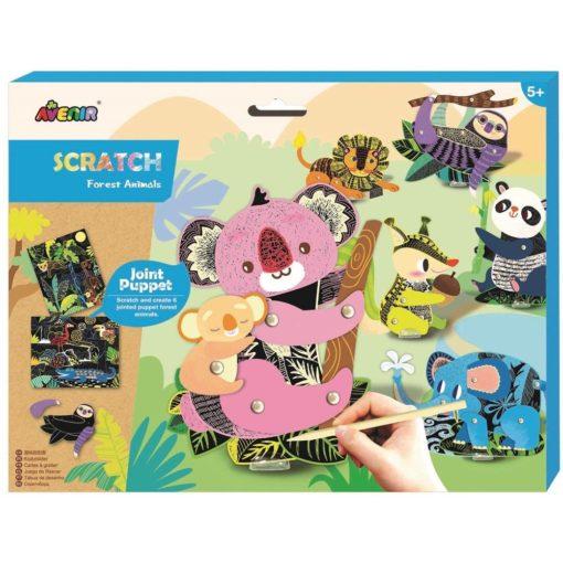 113125 AVENIR Skrapmotiv Scratch & Create Art Joint Puppets Forest Animals1