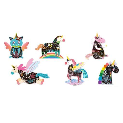 113127-5 AVENIR Skrapmotiv Scratch & Create Art Joint Puppets Unicorns