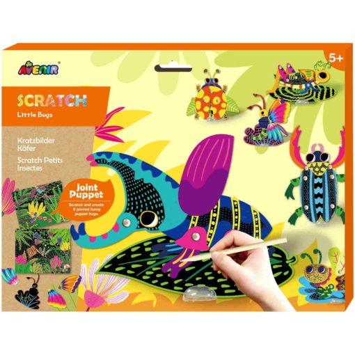 113129 AVENIR Skrapmotiv Scratch & Create Art Joint Puppets Little Bugs (2)