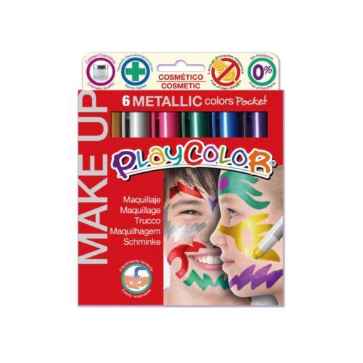113164-1 Play Color Ansiktsfärg Metallic Make Up Pocket - Set om 6