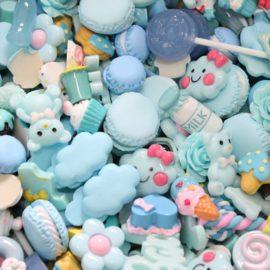 113165 Miniatyr Deco Bakverk Ljusblå Mix 20-pack