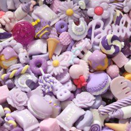 113167 Miniatyr Deco Bakverk Lila Mix 20-pack