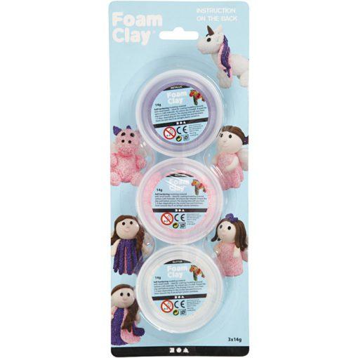 113174-1 Foam Clay® Glitter Metallic Rosa, Lila, Vit 3x14 g
