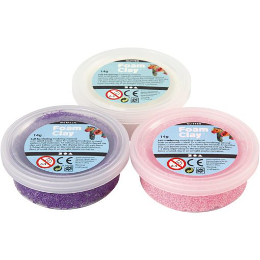 113174-2 Foam Clay® Glitter Metallic Rosa, Lila, Vit 3x14 g