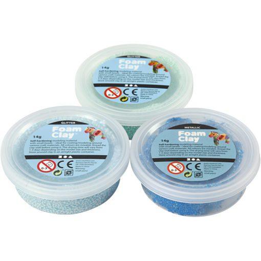 113175-1 Foam Clay® Glitter Metallic Blå, Ljusblå, Grön 3x14 g
