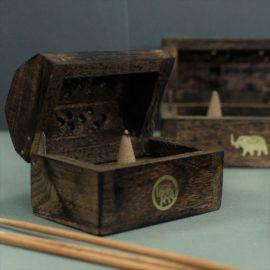 113208-1 Ancient Wisdom Rökelsebrännare Mini Incense Cone Smoke Box Mango Wood