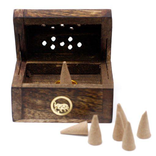 113208 Ancient Wisdom Rökelsebrännare Mini Incense Cone Smoke Box Mango Wood