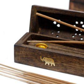 113209-3 Ancient Wisdom Rökelsebrännare Smoke Box Mango Wood
