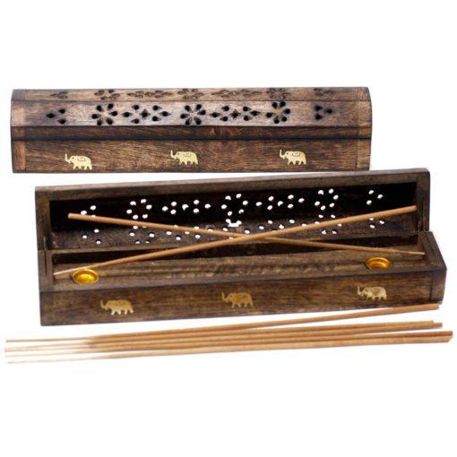 113209 Ancient Wisdom Rökelsebrännare Smoke Box Mango Wood