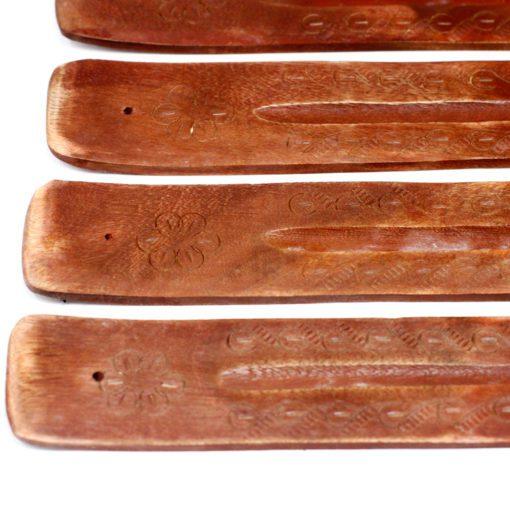 113214-2 Ancient Wisdom Rökelsehållare med Askfångare Carved Mango Wood Ashcatcher