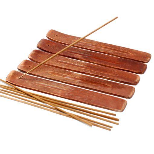 113214 Ancient Wisdom Rökelsehållare med Askfångare Carved Mango Wood Ashcatcher