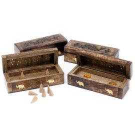 113215-1 Ancient Wisdom Rökelsebrännare Incense Cone Smoke Box Mango Wood