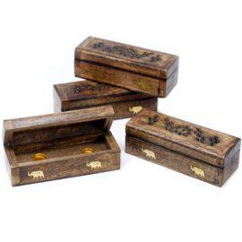 113215-2 Ancient Wisdom Rökelsebrännare Incense Cone Smoke Box Mango Wood