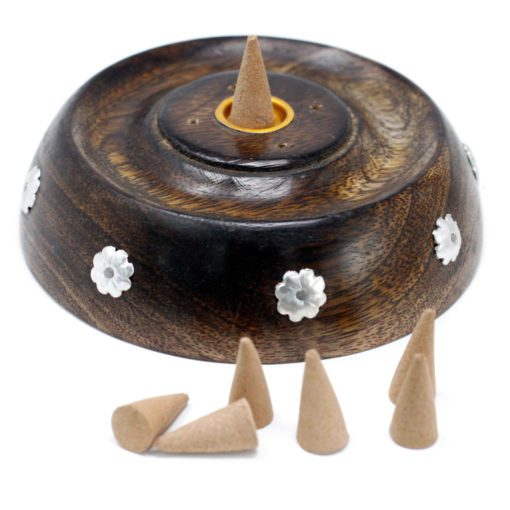 113217-1 Ancient Wisdom Asksamlare 2in1 Cone & Stick Burner Mango Wood
