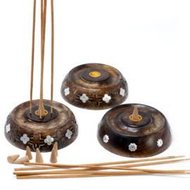 113217 Ancient Wisdom Asksamlare 2in1 Cone & Stick Burner Mango Wood
