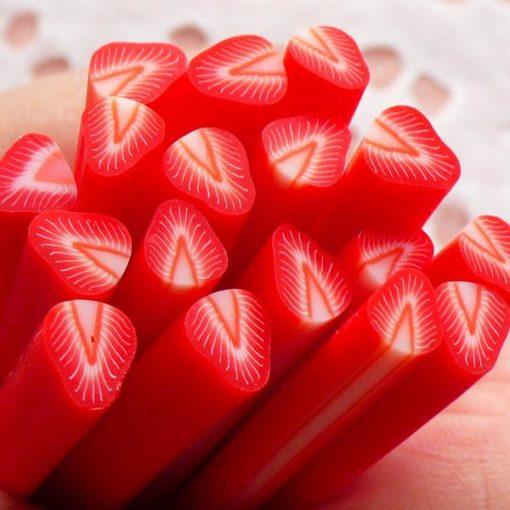 113268-10 Miniatyr Deco Jumbo Strawberry Fimo Slices