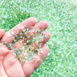 113252-5 Pärlor Iridescent Bingsu Beads - Grön