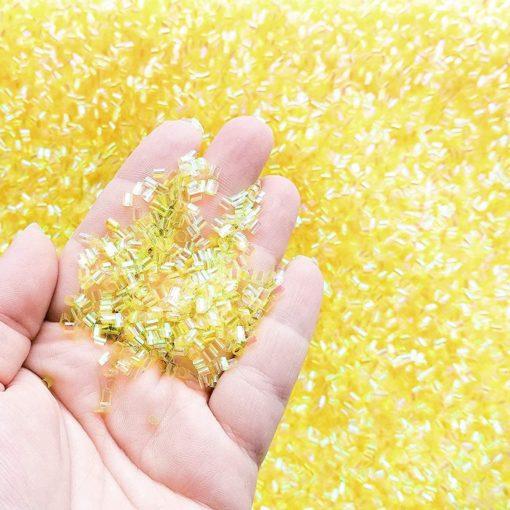 113252-6 Pärlor Iridescent Bingsu Beads - Gul