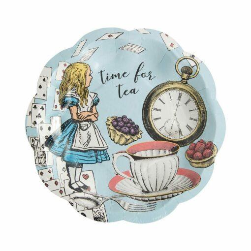 113437 Talking Tables Papperstallrikar Alice i Underlandet Blå 17.5 cm 12 st - Truly Alice