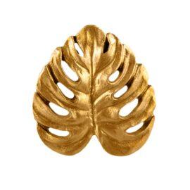 113460 Sass & Belle Knopp Guld Monstera i Vintage Stil