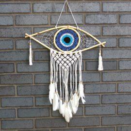 113537 Ancient Wisdom Drömfångare Onda Ögat VitBlåSvart