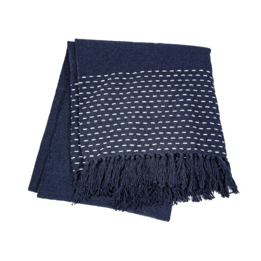 113600 Sass & Belle Pläd Blå Sashiko-inspirerad söm - Japandi