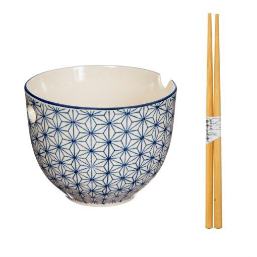 113615 Sass & Belle Nudelskål med Ätpinnar Blå Sashiko-inspirerad Vågmönster – Japandi