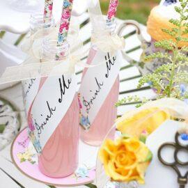 113638 Talking Tables Flaskor och Sugrör Drink Me Set - Truly Alice