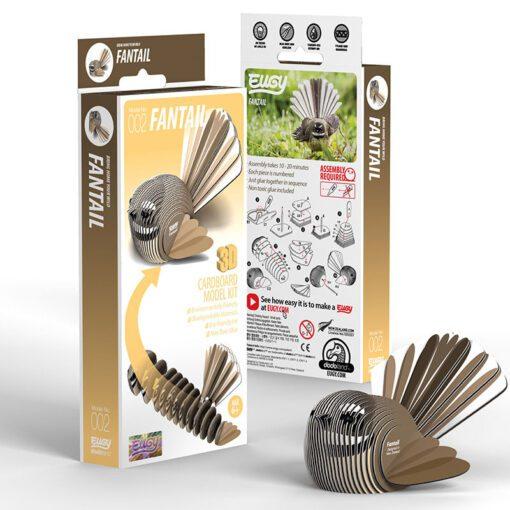 EUGY Pussel i 3D Fågel Pīwakawaka Solfjäderstjärt