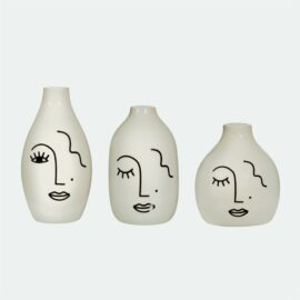 Sass & Belle Minivas Abstrakt Ansikte Set om 3