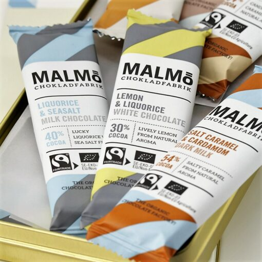 Malmö Chokladfabrik Drömchoklad i Plåtask - Ekologisk & Nötfri Choklad