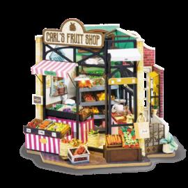 113989 DIY-Byggsats Miniatyrrum Fruktstånd, Carl's Fruit Shop
