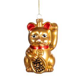 Sass & Belle Julgranskula Glas Guld Maneki-neko Lucky Cat