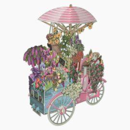 Pop Up Kort Laserskuret i 3D - Blomstervagn